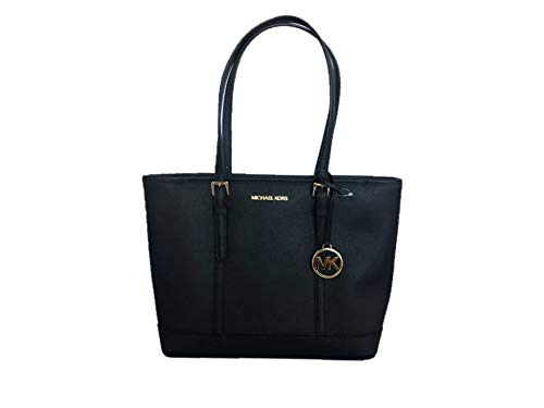Michael Kors Jet Set Travel Saffiano Leather Small Top zip Shoulder Tote - Black