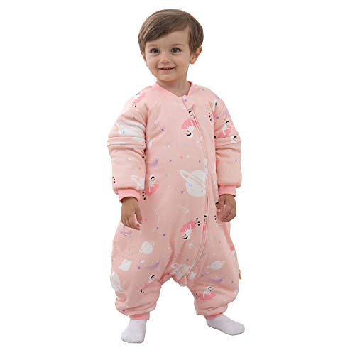 Mosebears Baby Winter Sleeping Bag with Legs, Baby Sleep Sack for Toddler Thicken 2.5 TOG (Pink,90(Baby Height 35-39 inches))