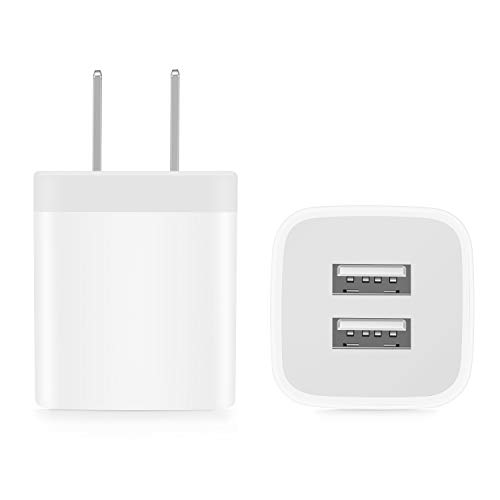 Power-7 USB Wall Charger, 2-Pack 2.1A/5V Dual Port USB Plug Power Adapter Charging Block Cube Compatible with iPhone 11/Xs Max/XR/X, 8/7/6S/6 Plus/5S, Samsung, LG, Moto, Kindle, Android Phones