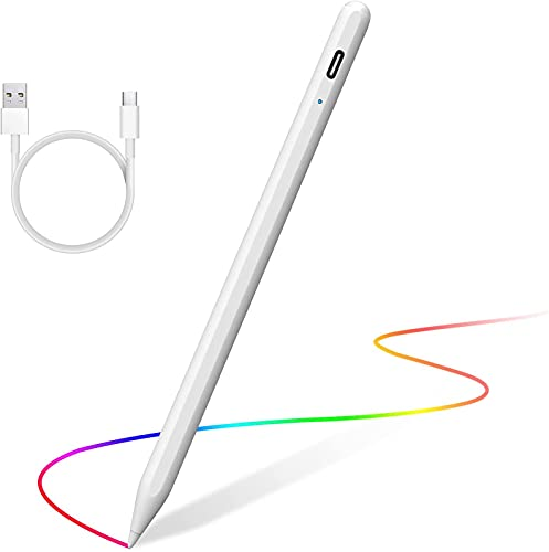 """YEMODO Stylus Pencil for Apple iPad Touch Screens Magnetic Active Capacitive Ipad Pen with Palm Rejection Side Compatible with iPad 6th/7th/8th,Mini 5, iPad air 3th/4th, iPad pro 11""""/12.9"""", (White)"""