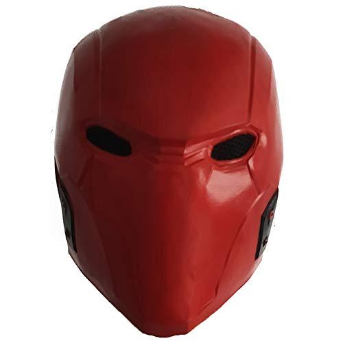 ZMJ Red Hood Helmet Latex Mask DC Batman: Under The Red Hood Superhero Cosplay Accessory Masquerade Deluxe Props