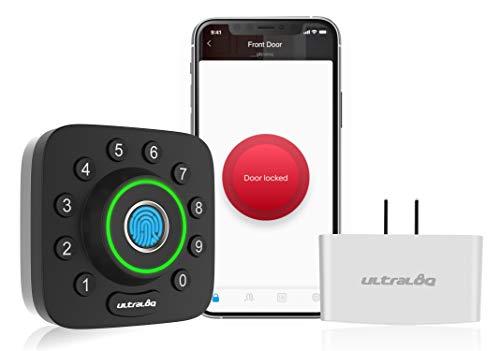 ULTRALOQ Smart Lock U-Bolt Pro + Bridge WiFi Adaptor, 6-in-1 Keyless Entry Door Lock with WiFi, Bluetooth, Biometric Fingerprint and Keypad, Smart Door Lock Front Door, Deadbolt Lock Edition