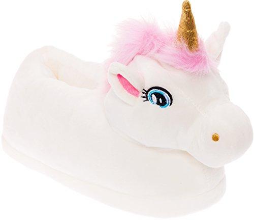 Silver Lilly Unicorn Plush Slippers - Novelty Animal Slippers w/Foam Support (White, Medium)