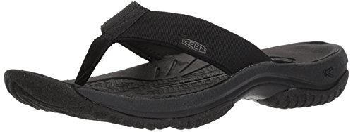 KEEN mens Kona Flip-m Flat Sandal, Black/Steel Grey, 11.5 US