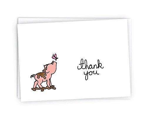 Little Piggy Thank You Cards - 24 Cards & Envelopes