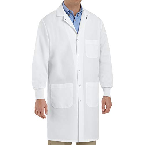 Red Kap Unisex Specialized Cuffed Lab Coat with 3 Front Pockets, White, Small