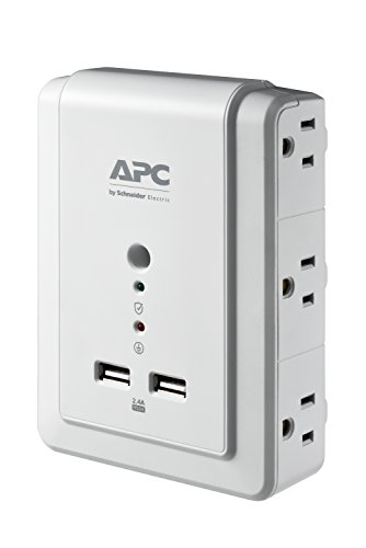 APC Wall Outlet Plug Extender, Surge Protector with USB Ports, P6WU2, (6) AC Multi Plug Outlet, 1080 Joule Surge Protection White