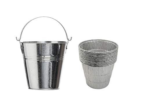 Tin Dirp Bucket with 12 Pack Aluminum Grease Liners Replacment Part HDW152/BAC407 for Z Grills/Rec Tec/Traeger Wood Pellet Grill & Smoker BBQ Accessories(1 GS Bucket+12 Liners)