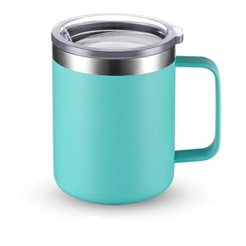 Civago Stainless Steel Coffee Mug Cup with Handle, 12 oz Double Wall Vacuum Insulated Tumbler with Lid Travel Friendly (Aqua, 1 Pack)