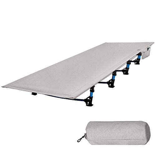 RedSwing Folding Camping Cots for Adults, Ultra Lightweight Backpacking Cot for Tents, Compact Portable Cot for Sleeping, 75''x28'' Light Gray