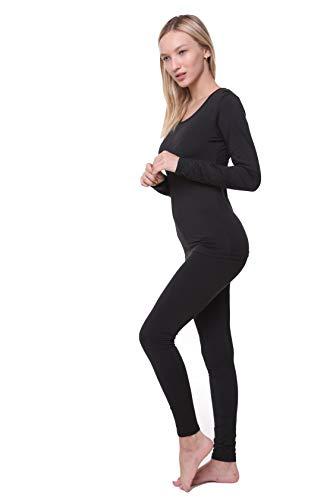 Women Thermal Set, Lightweight Ultra Soft Fleece Shirt and Tights,Black,X-Large