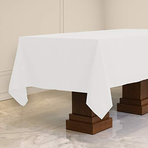 Kadut Rectangle Tablecloth (60 x 102 Inch) White Rectangular Table Cloth for 6 Foot Table | Heavy Duty Fabric | Stain Proof Table Cloth for Parties, Weddings, Kitchen, Wrinkle-Resistant Table Cover