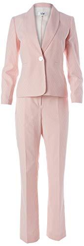 Le Suit Women's Plus Size 1 Button Jacket Stripe Seersucker Pant Suit, Apricot/White -FP8, 18W