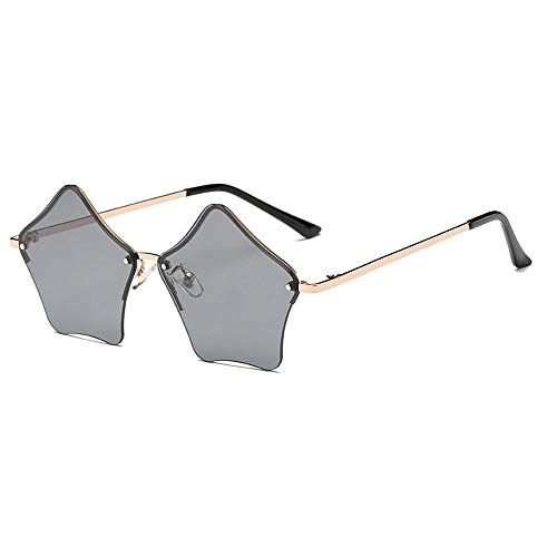 MINCL/Super Cute Star Shape Rimless Sunglasses Metal Frame Transparent Candy Color Eyewear (silver-black)