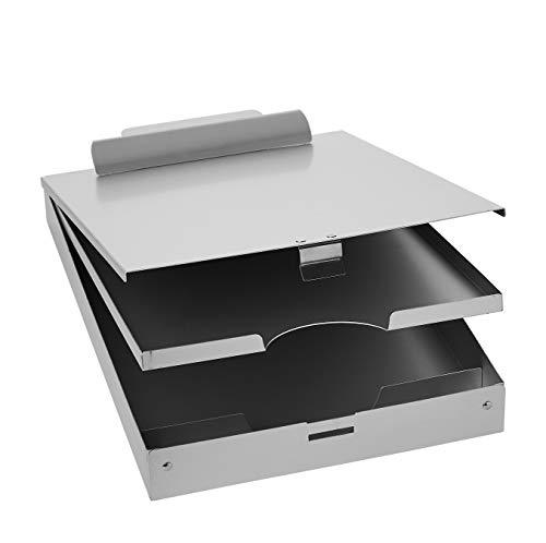 Amazon Basics Metal Clipboard with Paper Storage, Aluminum - Three-Tier