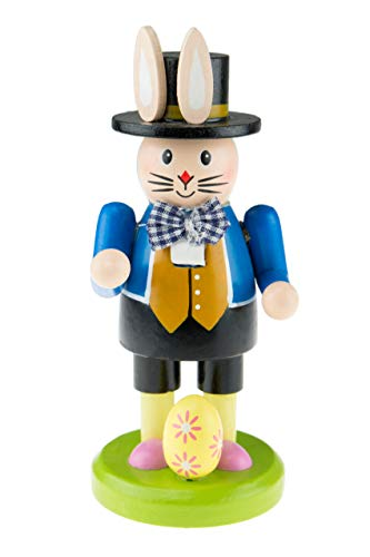 Clever Creations Gardening Bunny Spring Nutcracker Wearing Top Hat and Pink Shirt   Little Easter Egg at Feet   Collectible Wooden Nutcracker   Festive Holiday Decor   100% Wood   6' Tall
