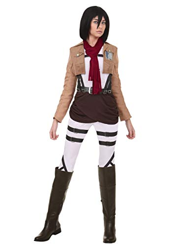 Attack on Titan Mikasa Costume Women's Cosplay Mikasa Outfit Medium Brown