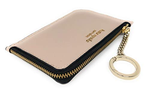 Kate Spade New York Medium L-Zip Card Holder Keychain Warm Beige Black