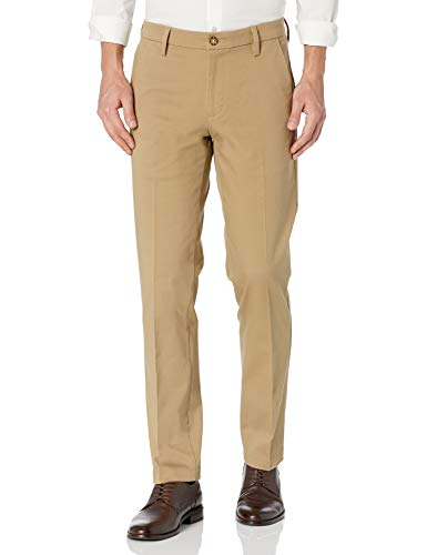 Dockers Men's Straight Fit Workday Smart 360 Flex Pants, New British Khaki (Stretch) - Tan, 34W x 29L