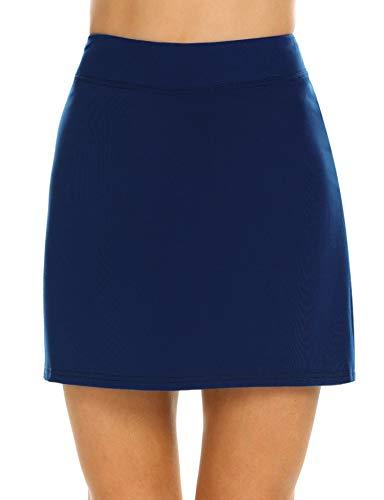 Ekouaer Women's Skort Quick Dry Comfy Golf Skirt for Outdoors Ride Running Hiking(Navy Blue/M)