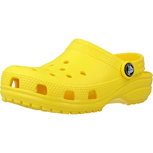 Crocs Kids' Classic Clog | Slip On Shoes for Boys and Girls | Water Shoes, Lemon, J1 US Little Kid
