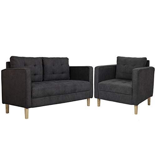 AODAILIHB 55'/30' Modern Soft Cloth Tufted Cushion Loveseat Sectional Sofa Set Small Space Configurable Couch Set of 2 (Gray)