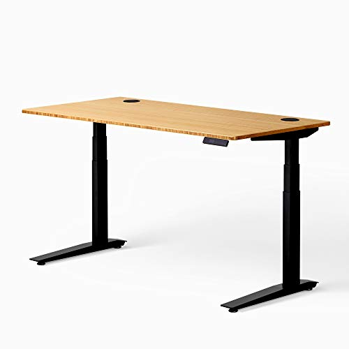 Fully Jarvis Standing Desk 60' x 30' Natural Bamboo Top - Electric Adjustable Desk Height from 25.5' to 51' with Memory Preset Controller (Rectangle, Black Frame)