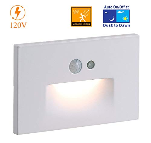 Cloudy Bay 120V Motion Sensor LED Step Light with Auto Dusk to Dawn Photocell,3000K Warm White 3W Stair Light