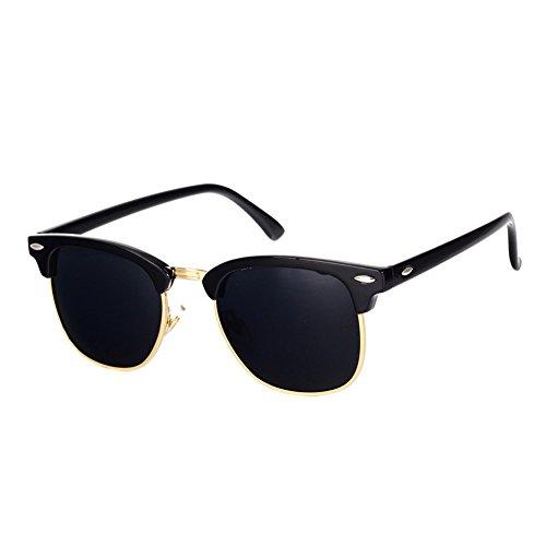 Pro Acme Classic Semi Rimless Polarized Sunglasses with Metal Rivets (Black/Gold Rimmed)