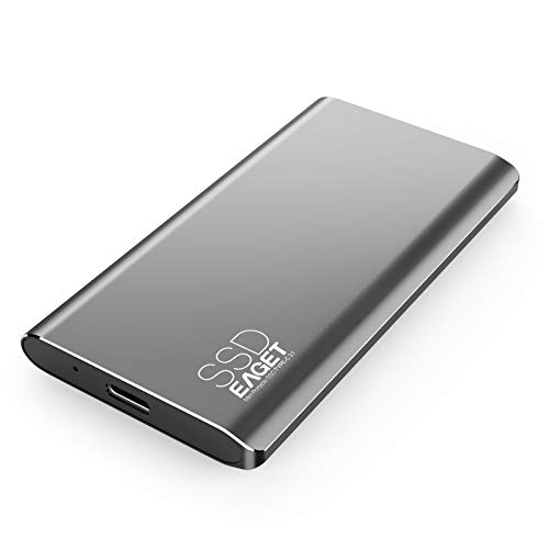 External SSD 256GB, EAGET USB c 3.0 Solid State Drive Portable High-Speed Up to 500MB/s for PC Laptop Mac Windows Linux Android Gaming PS4 Xbox One Smart TV