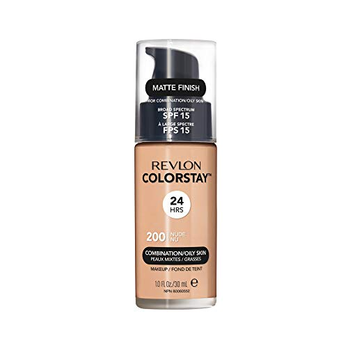 Revlon ColorStay Makeup for Combination/Oily Skin SPF 15, Longwear Liquid Foundation, with Medium-Full Coverage, Matte Finish, Oil Free, 200 Nude, 1.0 Oz