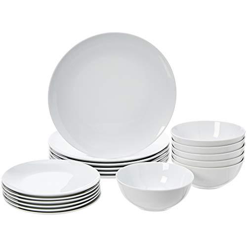 AmazonBasics 18-Piece Kitchen Dinnerware Set, Plates, Dishes, Bowls, Service for 6, White Porcelain Coupe