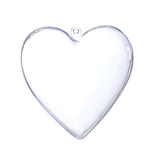 Seekingtag Clear Plastic Heart Shaped Fillable Ornaments Ball - Pack of 10 Individual 80mm Clear Ornaments