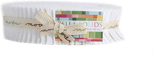 Bella Solids White Honey Bun 40 1.5-inch Strips Moda Fabrics 9900HB 98