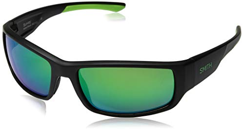 Smith Survey Carbonic Polarized Sunglasses, Matte Black, Green Mirror Lens