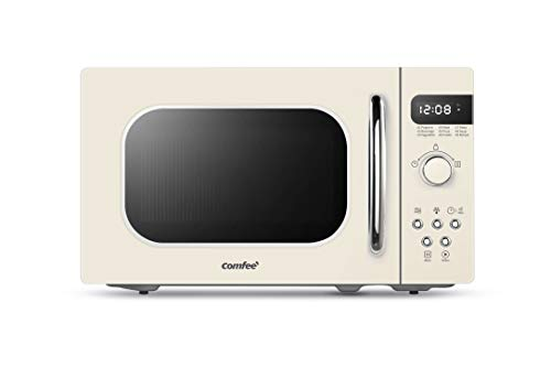 COMFEE' Retro Countertop Microwave Oven with Compact Size, Position-Memory Turntable, Sound On/Off Button, Child Safety Lock and ECO Mode, 0.7Cu.ft/700W, Cream, AM720C2RA-A
