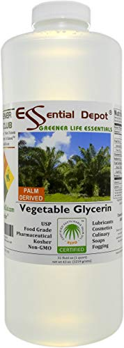 Glycerin Vegetable - 1 Quart (43 oz.) - Non GMO - Sustainable Palm Based - USP - KOSHER - PURE - Pharmaceutical Grade - safety sealed HDPE container with resealable cap