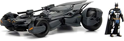DC Comics 1:24 Justice League Batmobile Die-cast Car with 2.75' Batman Figure, Toys for Kids and Adults