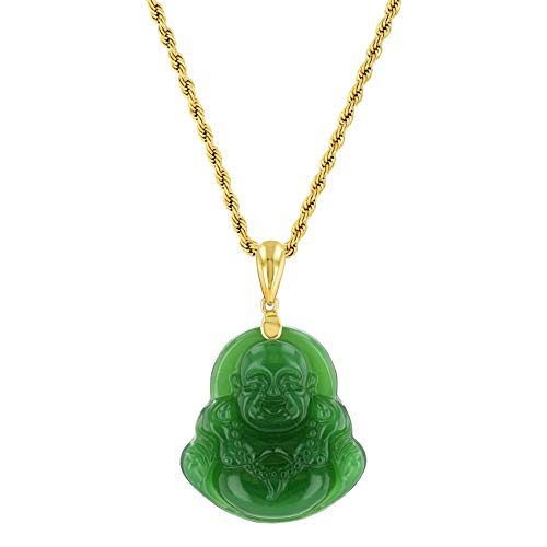 Shop-iGold Laughing Buddha Green Jade Pendant Necklace Rope Chain Genuine Certified Grade A Jadeite Jade Hand Crafted, Jade Neckalce, 14k Gold Filled Laughing Jade Buddha Necklace, Jade Medallion