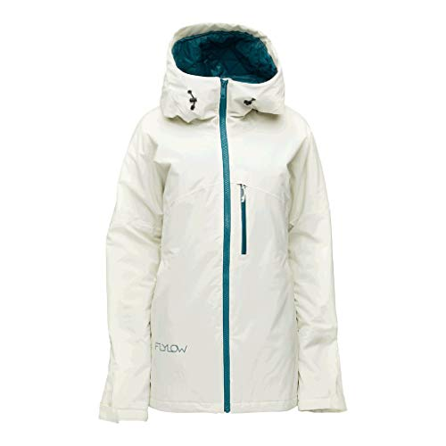 Flylow Women's Sarah Insulated Jacket - 2 Layer Waterproof Skiing and Snowboarding Jacket (Snow, S)