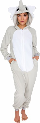 Silver Lilly Slim Fit Animal Pajamas - Adult One Piece Cosplay Elephant Costume (Grey, Large)
