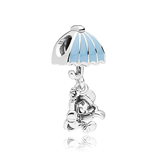Pukido 2018 New 100% 925 Sterling Silver Bead Jiminy Cricket Dangle Charm Blue Enamel Fit DIY Original Bracelet Jewelry Birthday Gift