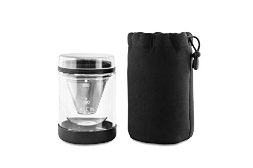 KLEIN Single Serve Pour Over Coffee Kit – Portable Pour-Over Coffee Maker With Dripper – Perfect for Home, Office, Travel & Backpacking – Premium 50 Micron Fine Mesh Stainless Steel Filter