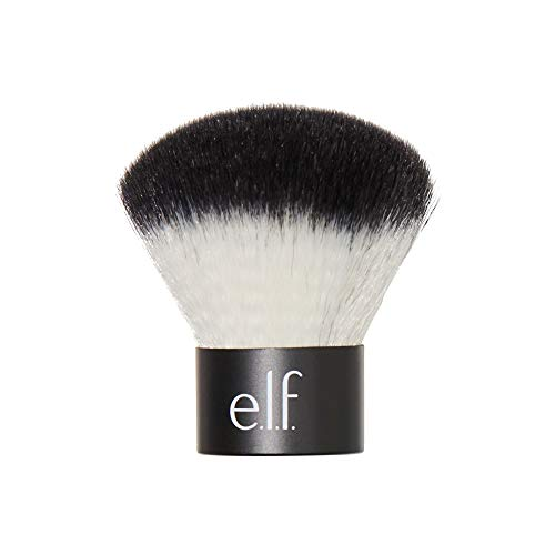 e.l.f., Kabuki Face Brush, Synthetic Haired, Versatile, Compact, Applies Bronzer, Powder, or Highlighter, Soft, Absorbent, Wet or Dry Product, Compact, Travel-Size, 0.64 Oz