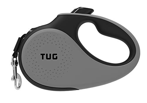 TUG 360° Tangle-Free, Heavy Duty Retractable Dog Leash for Up to 33 lb Dogs; 16 ft Strong Nylon Tape/Ribbon; One-Handed Brake, Pause, Lock (Small, Grey)