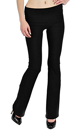 T-Party Thick Cotton Yoga Pants with Fold Over Waistband, Black, Size X-Small