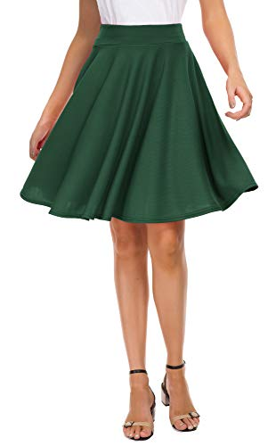 EXCHIC Women's Basic Skirt A-Line Midi Dress Casual Stretchy Skater Skirt (L, Green)