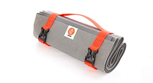 Ultralight Long Travel Yoga Mat With Attached Straps, Handle, Origami Folding Design for Commuting and Travel