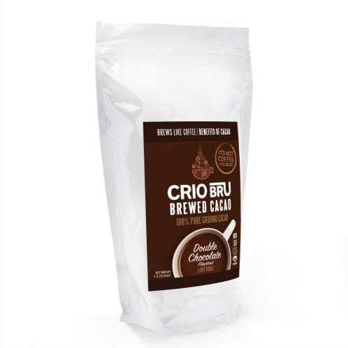 Crio Bru Double Chocolate Light Roast 24oz Bag | Natural Healthy Brewed Cacao Drink | Great Substitute to Herbal Tea and Coffee | 99% Caffeine Free Gluten Free Whole-30 Low Calorie (24 oz.)