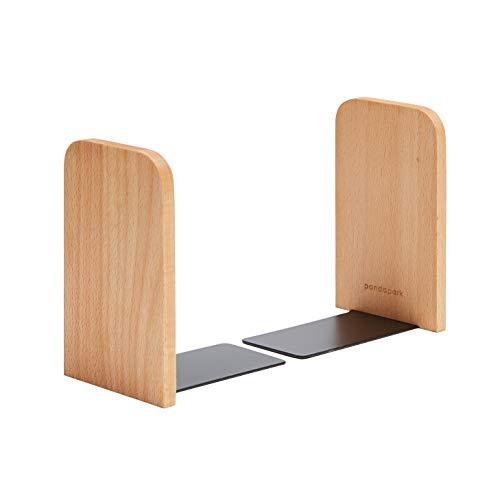 pandapark Wood Bookends,Pack of 1 Pair,Non-Skid,German Beech,Office Book Stand (Beech-A)